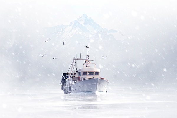 Trawler in ice sea Web